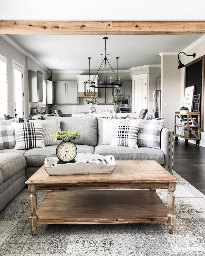wooden coffee table, grey corner sofa, country farmhouse decor, grey carpet on dark wooden floor