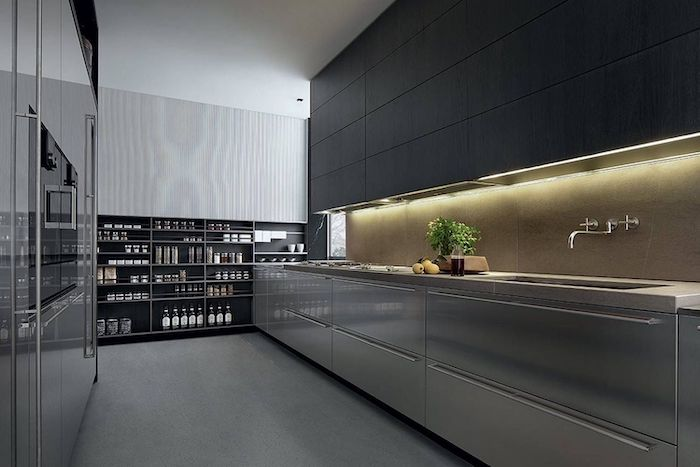 silver cabinets, dark wooden cabinets, open shelving, modern kitchen, dark grey floor, lights above the sink