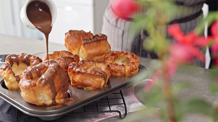 yorkshire puddings baked in muffin baking tray fruit desserts recipes melted chocolate poured on top