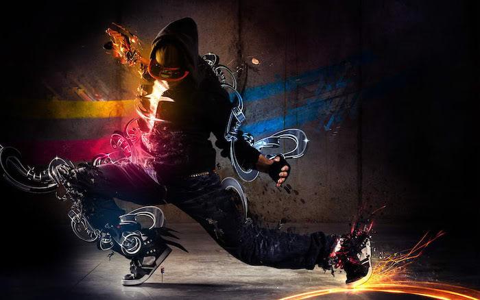 android cool wallpapers man dancing wearing jeans black hoodies sneakers digital drawings around him