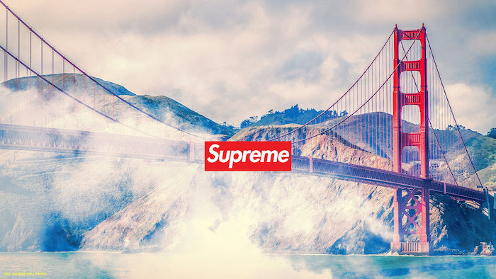 background with golden gate bridge san francisco android cool wallpapers supreme logo in red and white in the middle