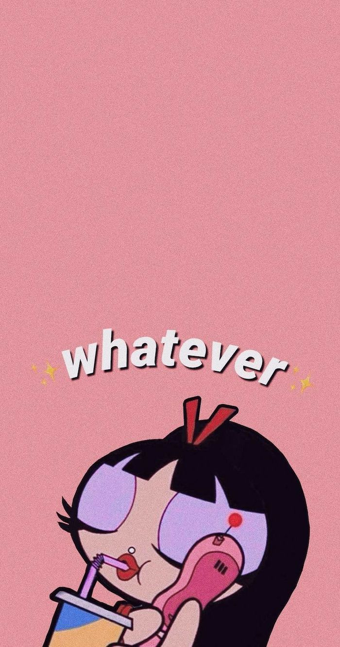 beautiful wallpaper for phone whatever written over drawing of girl talking on the phone drinking juice with straw pink background