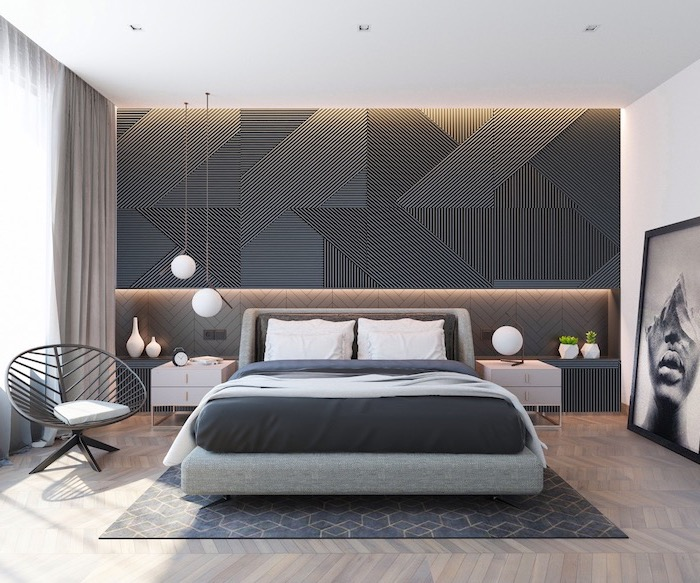 black accent wall behind the bed with grey bed frame bedroom ideas for women wooden floor with black carpet
