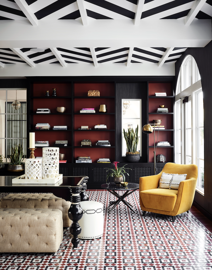 black and red bookshelf and walls best living room paint colors yellow armchair black and white ceiling floor with black red white tiles