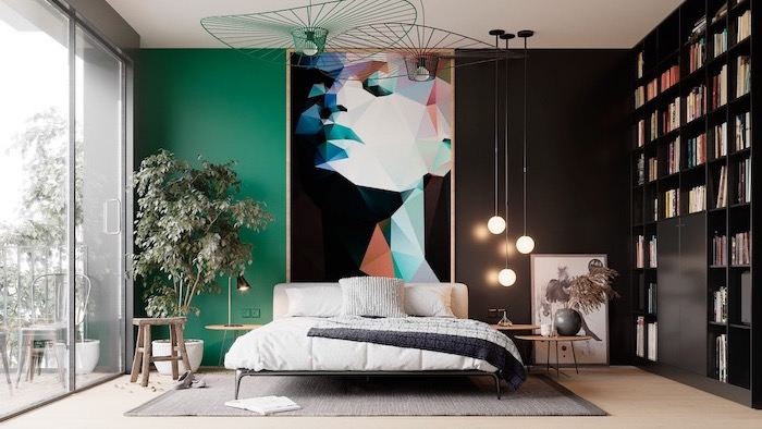 black and turquoise wall behind the bed large framed abstract art hanging on the wall wooden floor with grey carpet bedroom wall decor ideas