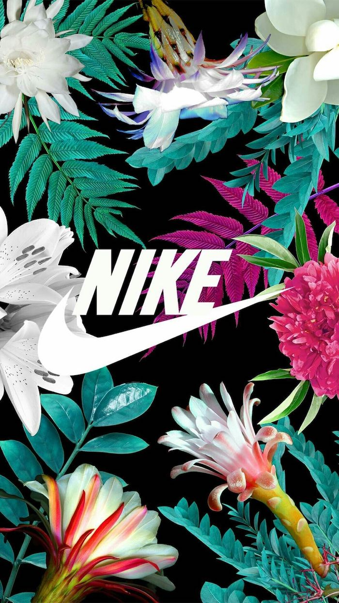 black background with colorful flowers in green purple orange pink white beautiful iphone wallpaper nike logo in the middle
