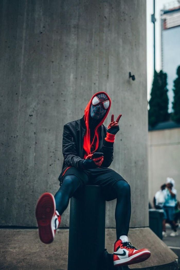black bomber jacker red hoodie spider man costume nike air force 1 worn by man cool backgrounds for boys