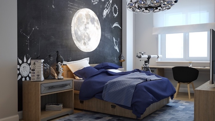 black chalkboard wall with photo of the moon on it boys bedroom furniture wooden bed with blue sheets telescope next to wooden desk