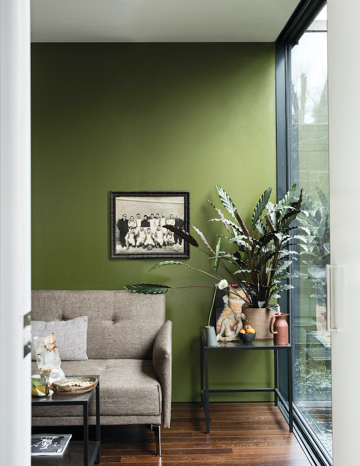black metal coffee table and side table living room color schemes wall painted in green grey sofa wooden floor