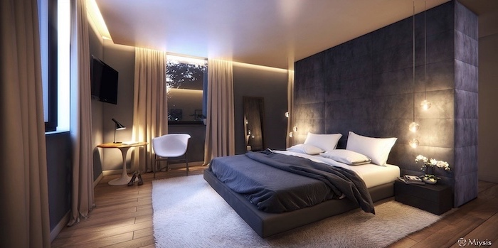 black velvet room separator behind the bed with black and white bed sheets master bedroom decor wooden floor with white carpet