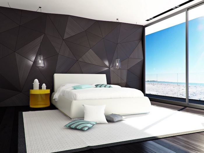 black wooden accent wall dark wooden floors with white carpet modern bedroom ideas white bed sheets with turquoise throw pillows
