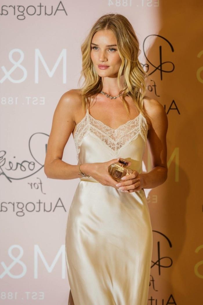 blonde medium length hair short hairstyles for thin hair rosie huntington whiteley on the red carpet wearing white silk dress