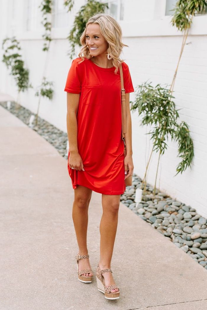 blonde woman wearing red t shirt dress platform beige sandals long summer dresses walking on sidewalk