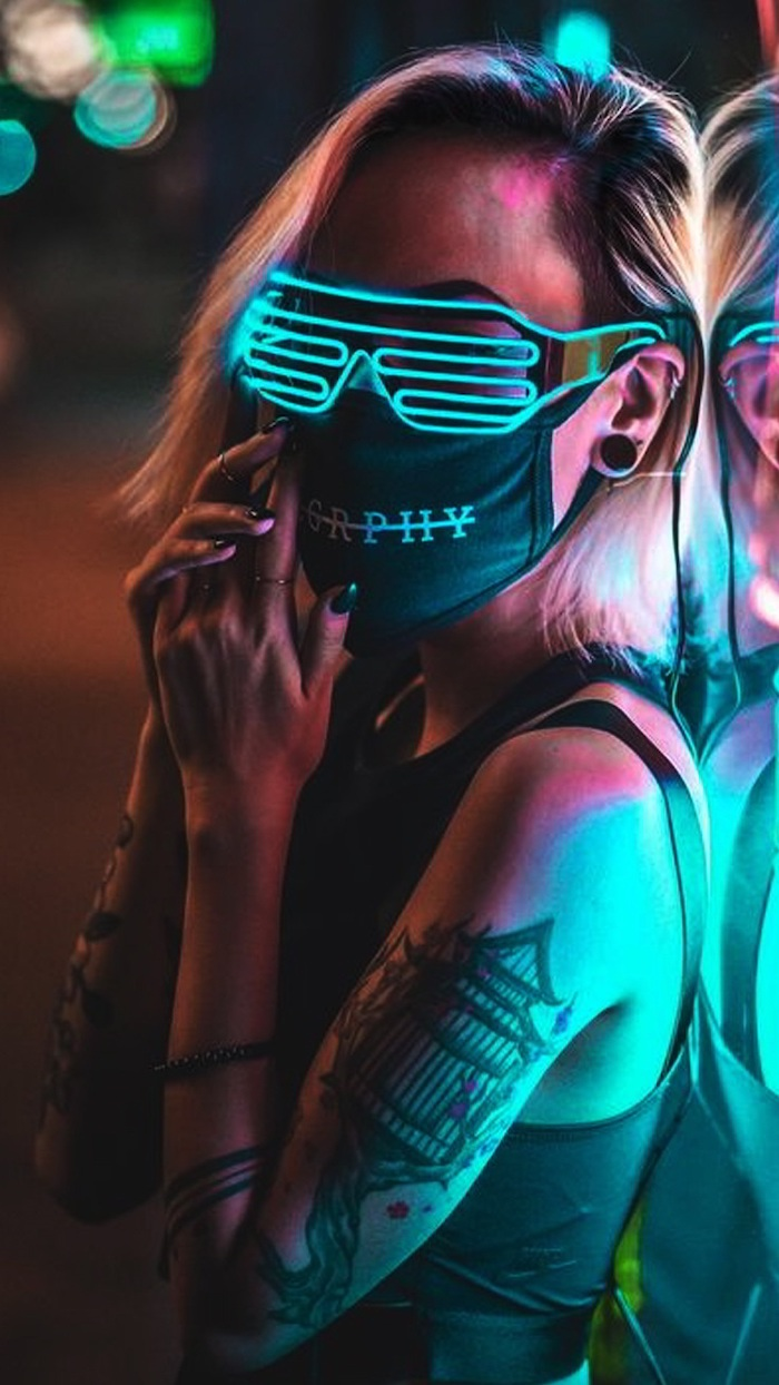 blonde woman with neon glasses black face mask arm tattoos black nail polish cute wallpapers for computer