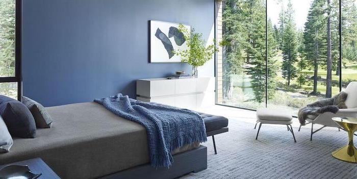 blue accent wall tall windows bedroom wall decor ideas small bed with blue blanket throw pillows floor covered with white carpet