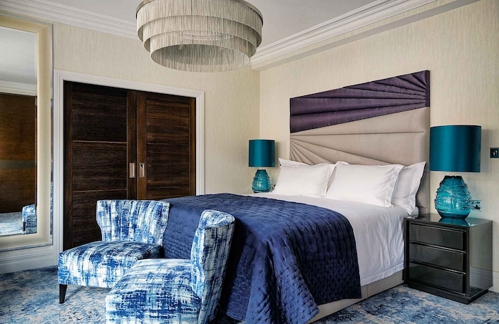 blue armchairs blanket modern bedroom ideas purple and beige leather backboard blue carpet