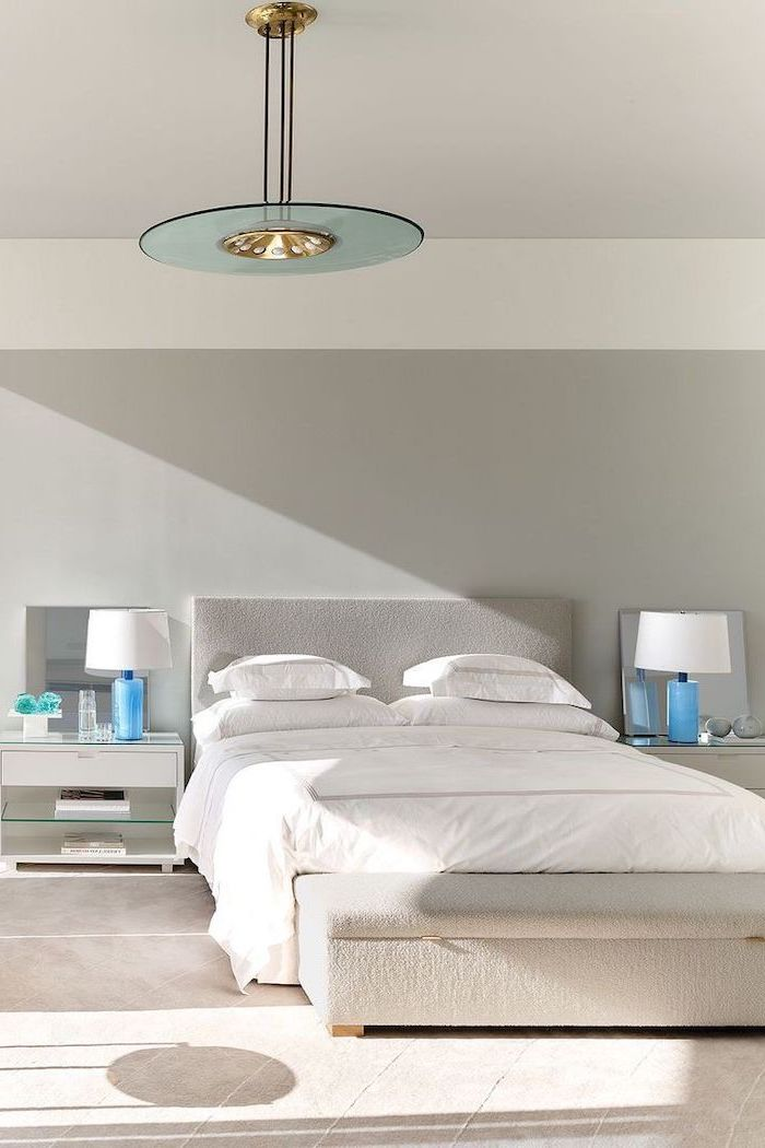 blue night stand lamps for accent in all white master bedroom ideas white ottoman in front of the bed