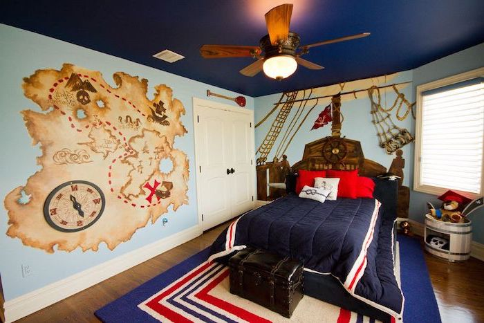 blue walls dark blue ceiling teen boy room ideas pirate themed room map ship drawn on the wall wooden floor