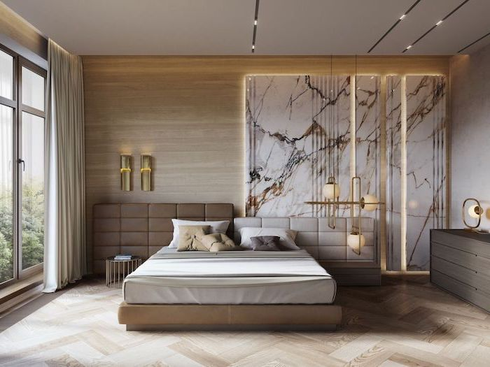 brown leather on wooden and marble accent wall bedroom decor ideas wooden floor hanging chandelier