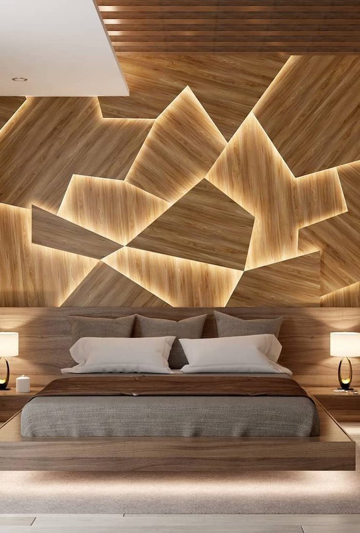 brown throw pillows on floating bed with wooden bed frame how to decorate a bedroom wooden accent wall with led lights