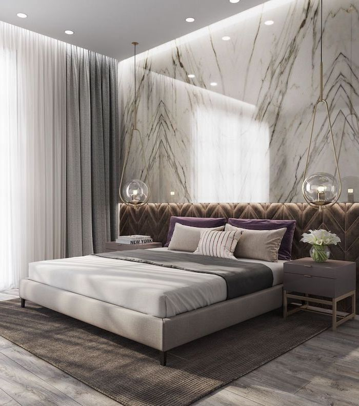 brown velvet marble wall above the bed master bedroom ideas hanging lamps above the night stands grey carpet on wooden floor