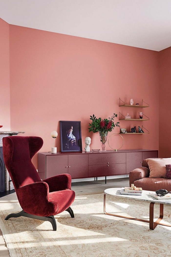 cabinet in dark pink on coral wall what color goes with gray red velvet armchair marble coffee table