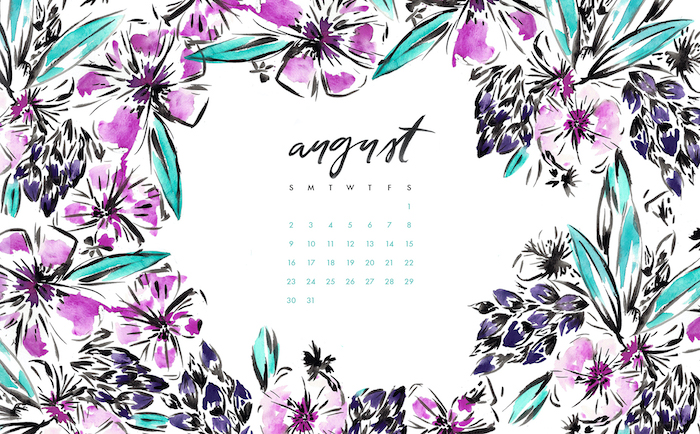 calendar for august surrounded by watercolor purple flowers with green leaves vintage flower background