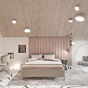 cathedral wooden ceiling master bedroom decor pink velvet accent on the wall plastic swing hanging from the ceiling desk next to the bed
