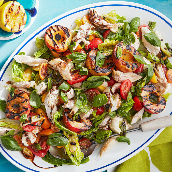 chicken stripes basil cherry tomatoes with green salad with roasted peaches summer salad recipes