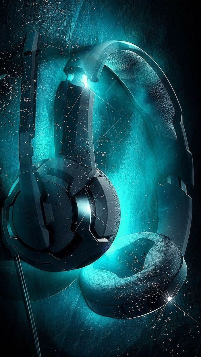 cool background hd digital drawing of black headset with black and turquoise background