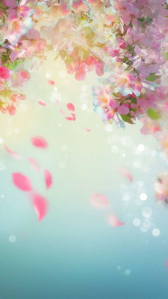 cute flower wallpaper drawing of pink cherry blossoms falling down on blue background
