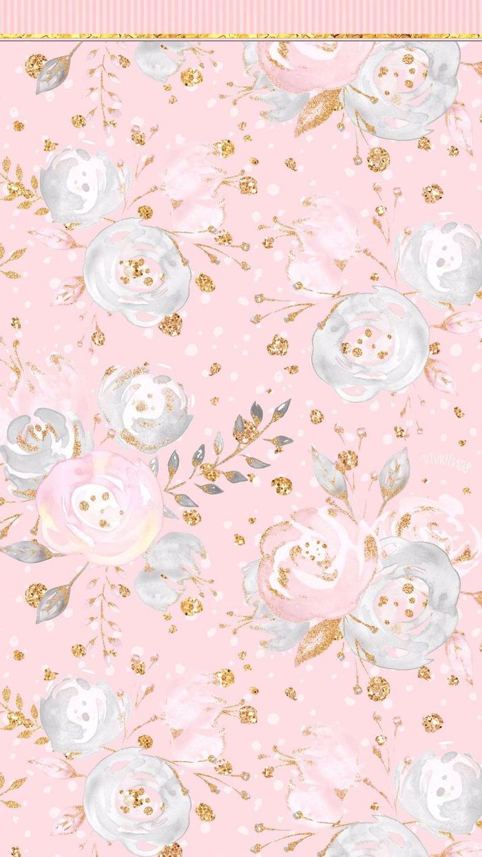 cute flower wallpapers drawing of white pink roses on pink background with gold leaves