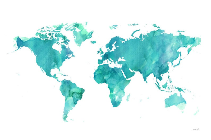cute iphone wallpaper map of the world drawn in watercolor in turquoise and green on white background