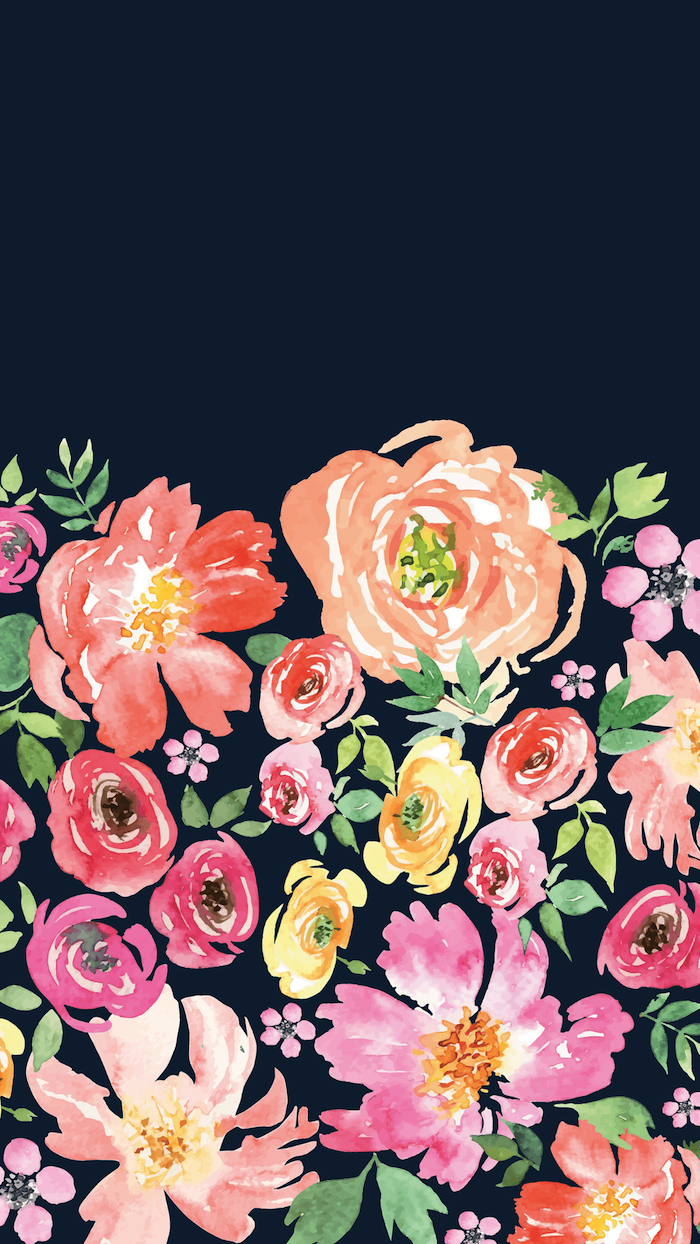 dark blue background pink flower background watercolor drawing of orange pink yellow flowers with green leaves