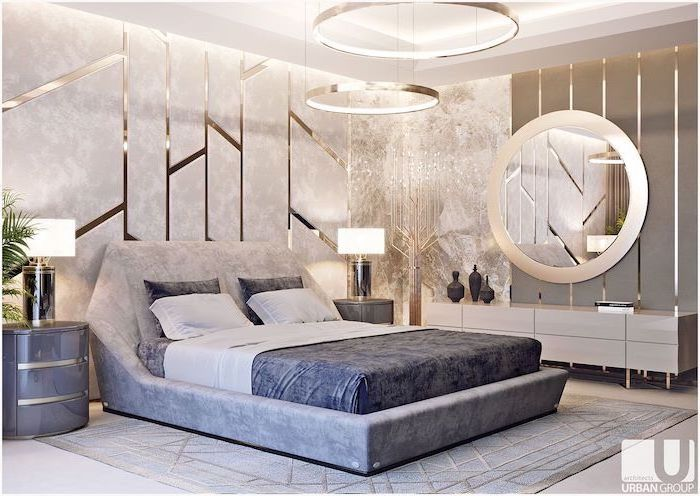 dark grey bed sheets night stand bedroom decor ideas walls with granite golden lined on them hanging round chandeliers