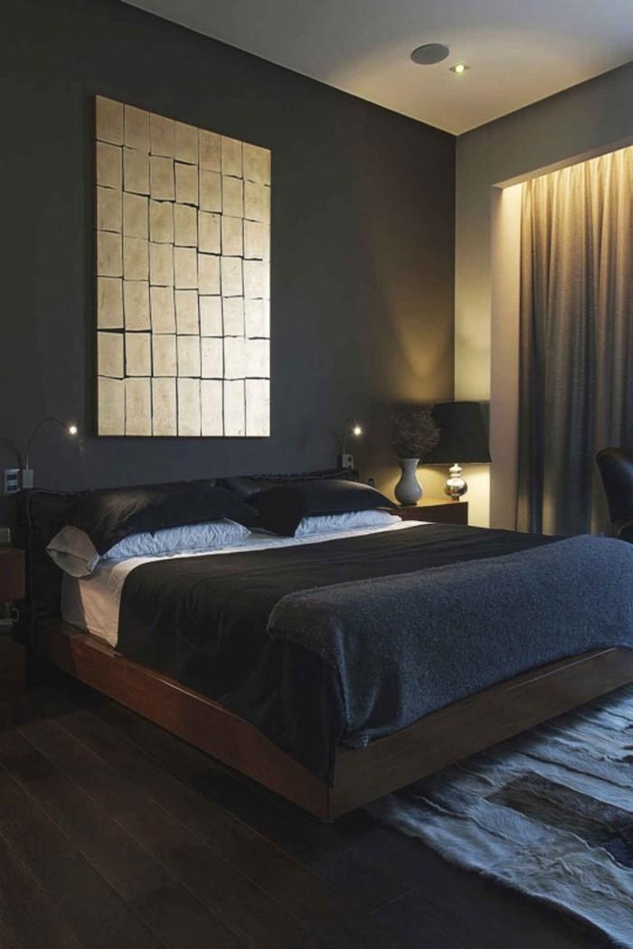 dark grey walls cute room ideas black bed sheets dark wooden floor with grey carpet gold metal art hanging above the bed