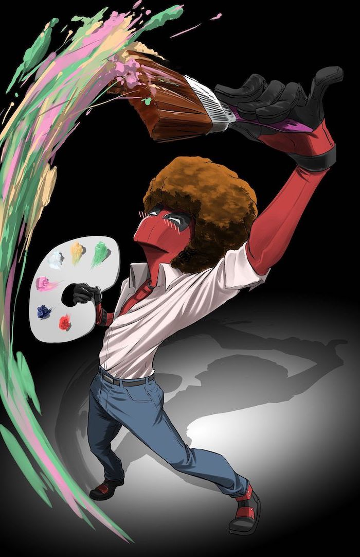 deadpool drawn as bob ross holding color palette cool backgrounds for boys painting with paint brush