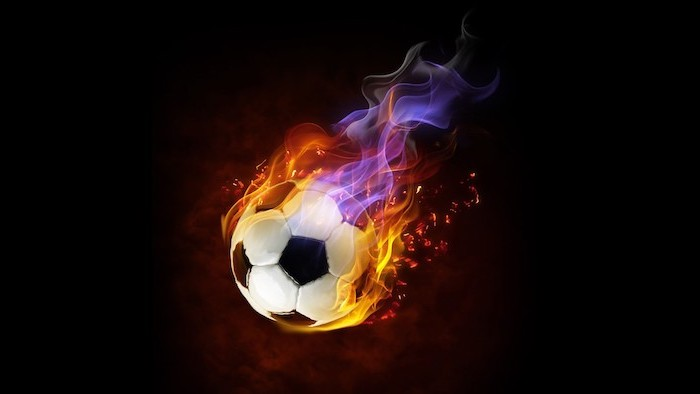 digital drawing of football on fire with orange and purple flames cool phone wallpapers
