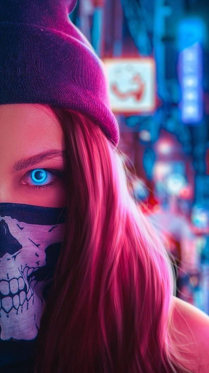 digital drawing of girl with neon blue eyes trendy backgrounds wearing face mask with skeleton beanie
