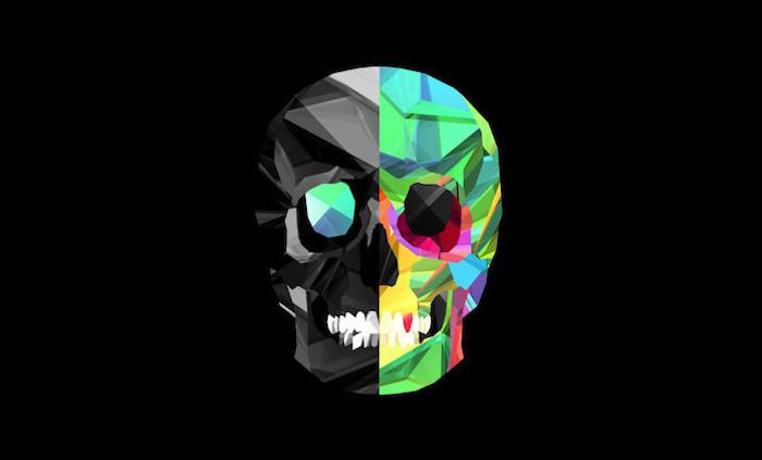 digital drawing of skull cool wallpaper hd half black half colorful on black background
