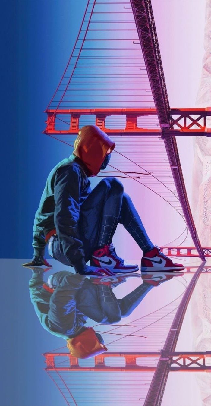 digital drawing of spider man wearing nike air force 1 golden gate bridge in the background backgrounds for boys