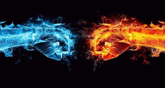 digital drawing of two fists bumping into each other created as fire and water android cool wallpapers black background