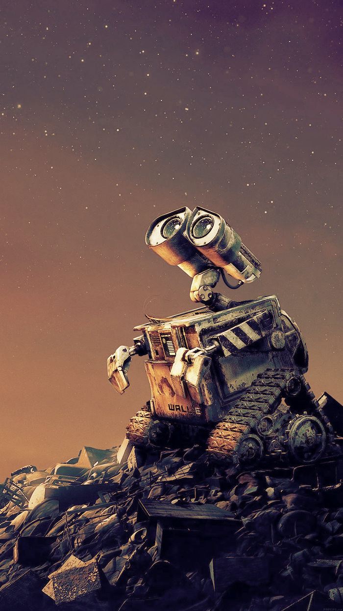digital drawing of wall e disney character cool background hd standing on top of pile of metal trash looking at galaxy sky