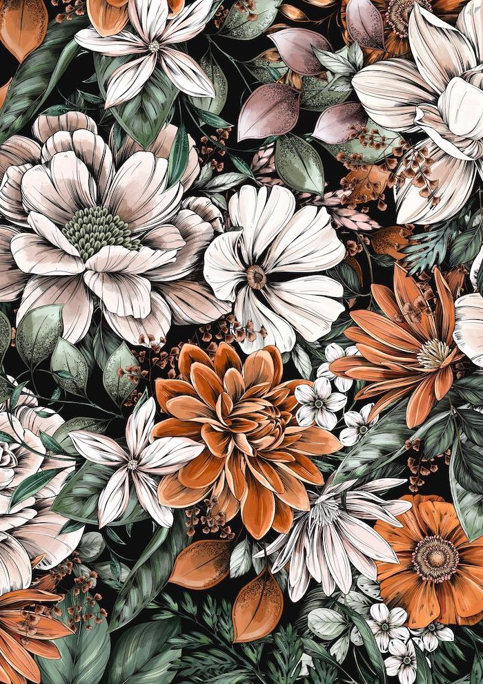 digital drawing of white orange flowers lots of green leaves floral background drawn on black background