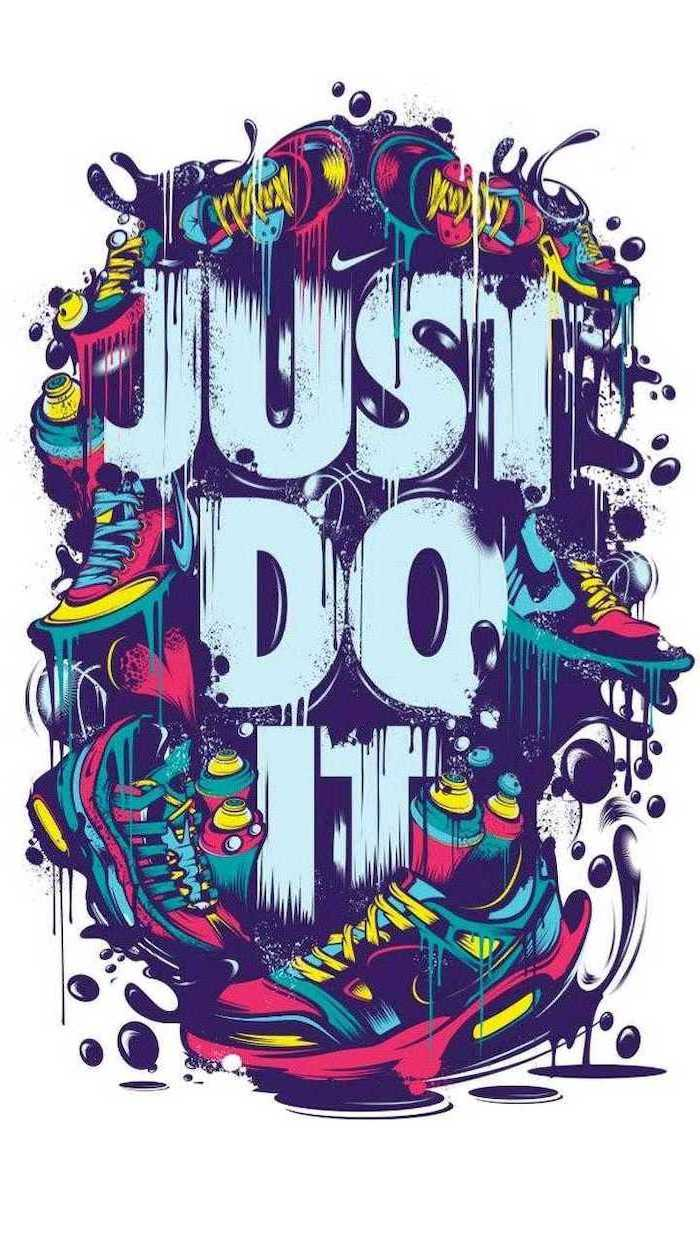 drawing of just do it written in the middle with nike logo backgrounds for boys surrounded by sneakers