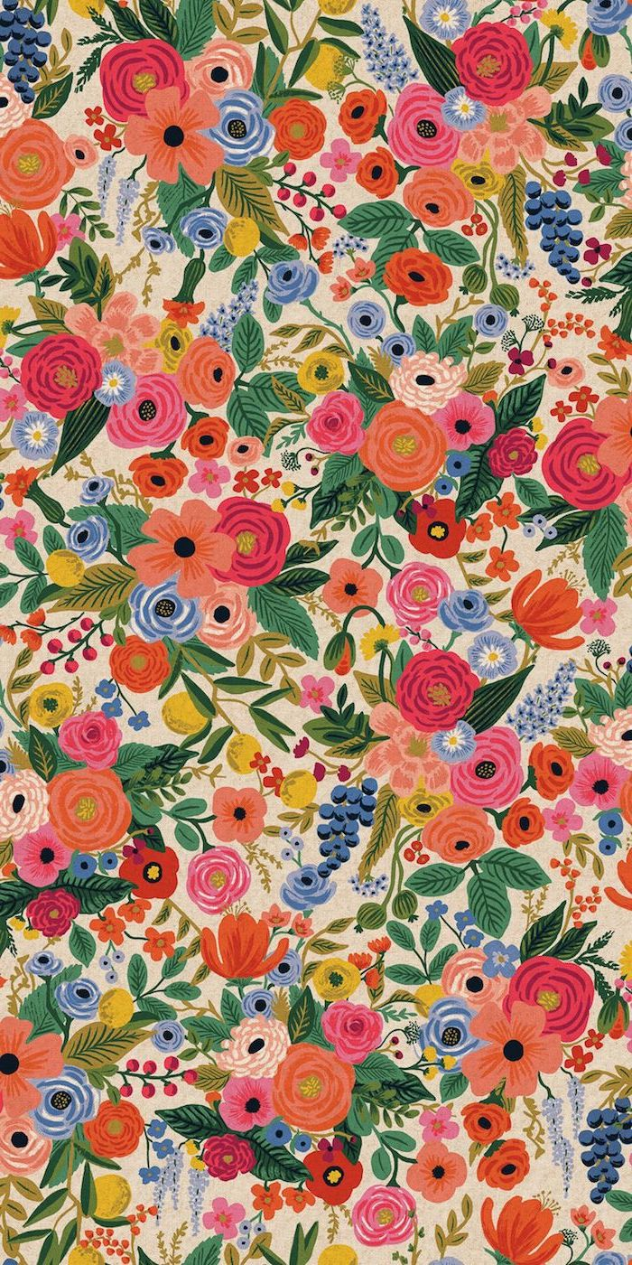 drawing of lots of flowers pink flower background pink red blue orange yellow with green leaves