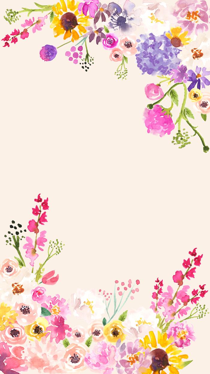 drawings of different flowers in the corners cute flower wallpaper flowers in purple pink yellow orange green watercolor