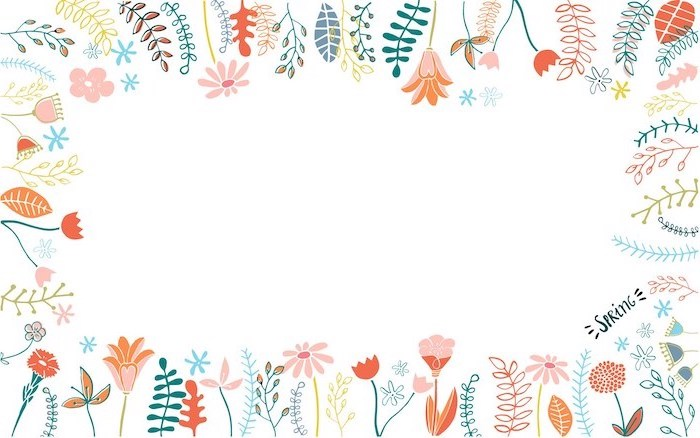 drawings of pink orange flowers green plants leaves flower background images white background