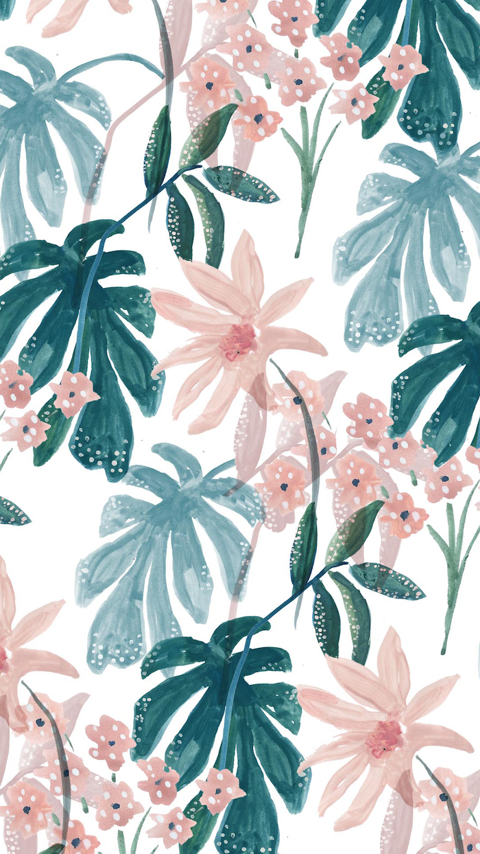 floral background watercolor drawing of green palm leaves orange flowers on white background