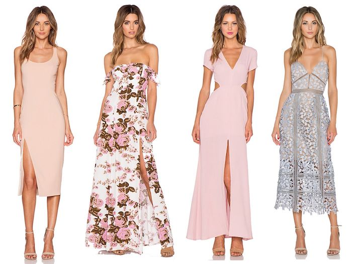 four different dresses in pink and nude worn by blonde woman elegant dresses for wedding guests pink with flowers lace